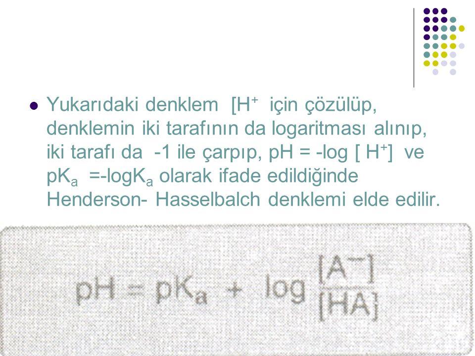 Yukarıdaki denklem [H+ için çözülüp, denklemin iki tarafının da logaritması alınıp, iki tarafı da -1 ile çarpıp, pH = -log [ H+] ve pKa =-logKa olarak ifade edildiğinde Henderson- Hasselbalch denklemi elde edilir.